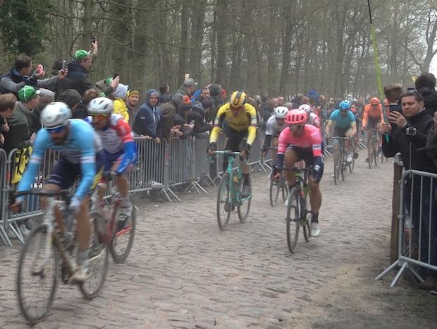 Paris-Roubaix road bike race showing cobbled surface.